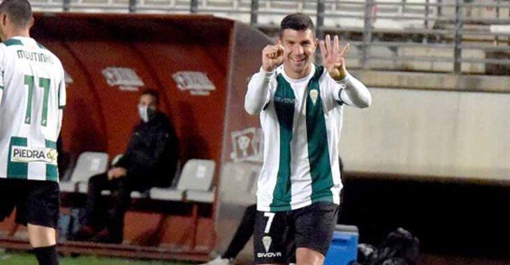 Willy celebrando el gol del triunfo del Córdoba en Murcia, su segundo de esta temporada.