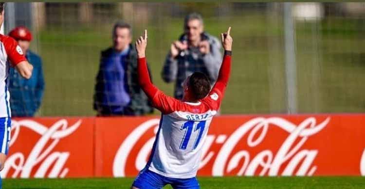 Berto González recordando su último gol con el filial del Sporting de Gijón en su stories de Instagram.