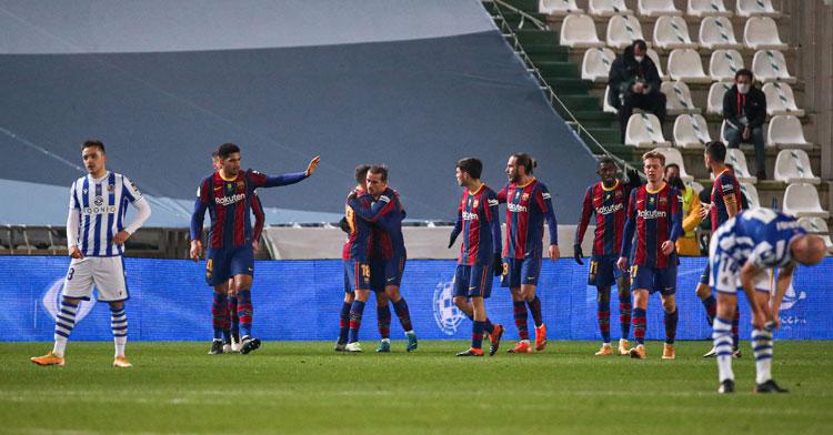 Los jugadores del Barça celebrando el gol inicial de Frenkie De Jong. Foto: RFEF