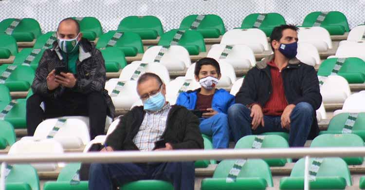 Varios cordobesistas en el último partido liguero ante El Ejido.