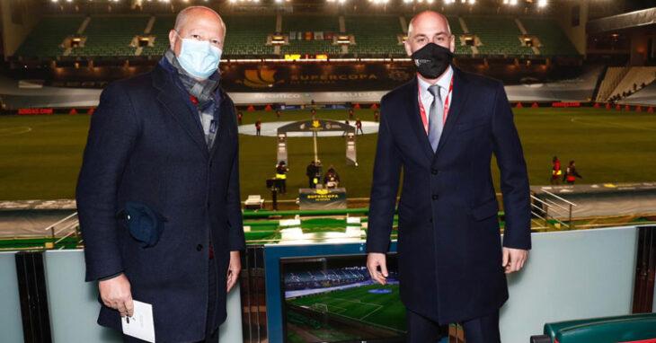 Luis Rubiales, junto a Javier Imbroda cuando estuvo en Córdoba por la Supercopa. Foto: RFEF