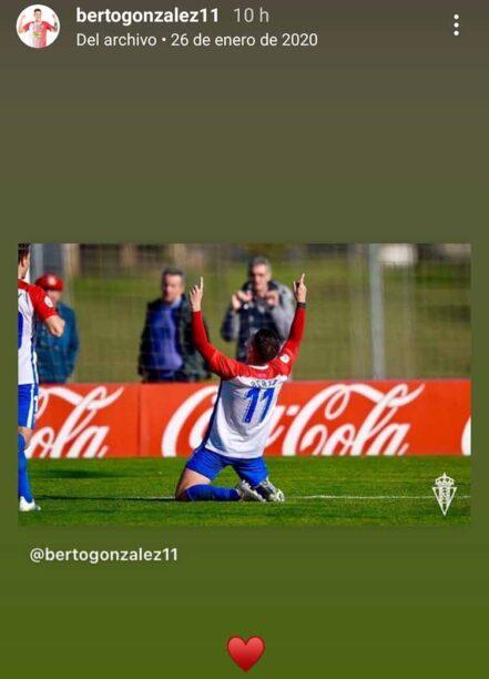 La imagen de archivo que rescató ayer Berto González para recordar su último gol con el filial del Sporting en su stories de Instagram.