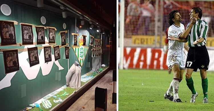 El escaparate de la tienda oficial del Betis empapelada con la fotografía en la que Pablo Alfaro coge del cuello a Joaquín.