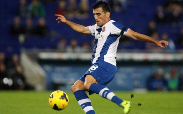 Juan Fuentes jugando en Primera con el Espanyol.
