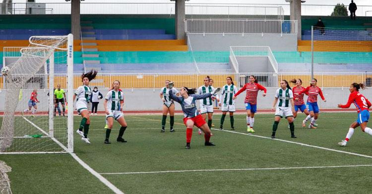 El gol. Gordillo y las jugadoras del Córdoba comprueban como el remate de Pamela encontró la red. Foto: Granada Femenino