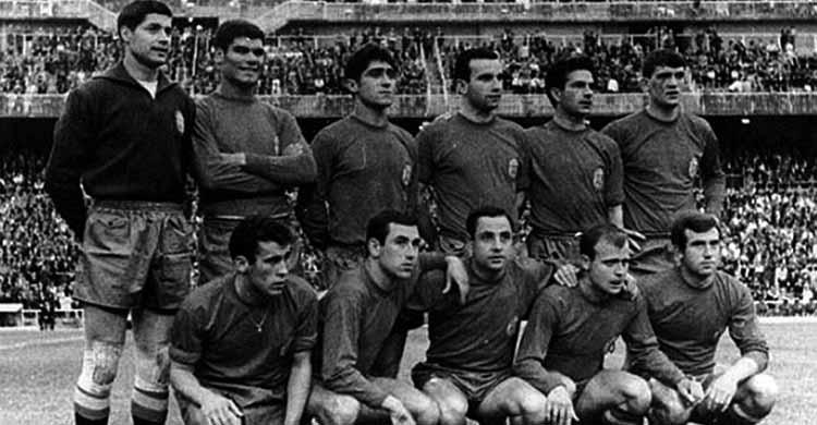 Mingorance con la selección española en la década de los sesenta.