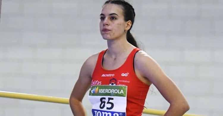 Concentrada. Carmen Avilés antes de tomar la salida en el 400 metros bajo techo.
