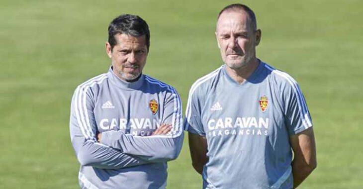 José Luis Rodríguez Loreto junto a Víctor Fernández en un entrenamiento Del Real Zaragoza.
