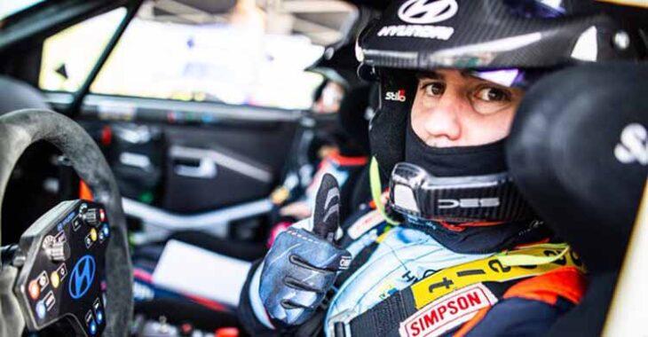 El piloto cántabro Surhayen Pernia esta mañana en la primera jornada del Rally Sierra Morena.