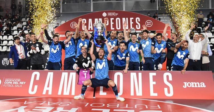 La alegría de Movistar Inter al ganar la Copa del Rey. Foto: Movistar Inter