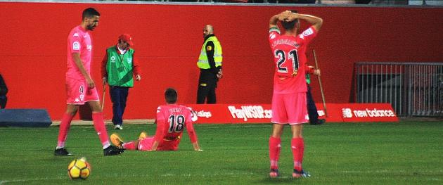 El gesto de Carlos Caballero tras no conseguir ganar al filial sevillista lo decía todo.