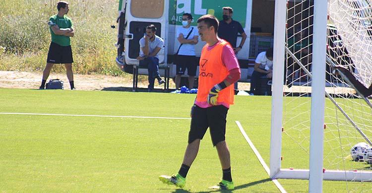 Edu Frías en uno de los últimos entrenamientos de mayo en la Ciudad Deportiva.
