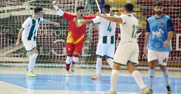 La celebración del tanto del meta José Manuel. Foto: Córdoba Futsal