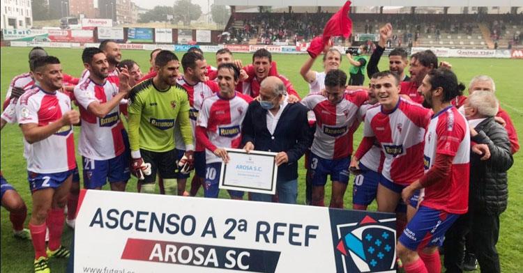 La alegría de los vencedores de la final del play-off en Galicia. Foto: Arosa