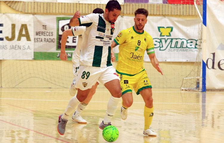 Caio César en el encuentro ante Jaén, su último como blanquiverde. Foto: Córdoba Futsal