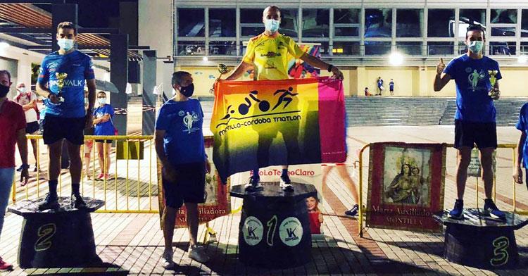 Cristóbal García en el podio de la prueba absoluta de Montilla