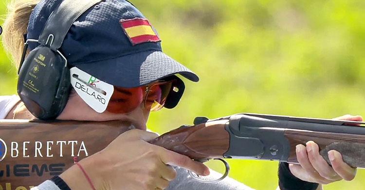 Fátima Gálvez preparada para disparar en la final individual. Foto: @RFEDETO
