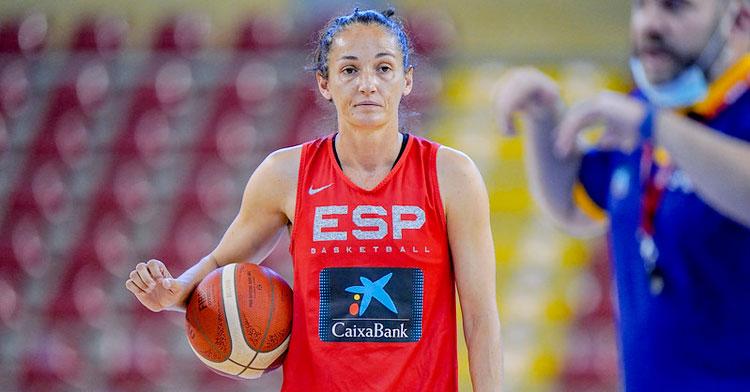 Laia Palau en el entrenamiento en Vista Alegre. Foto: Federación Española de Baloncesto