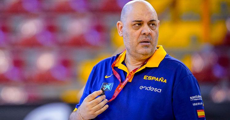 Lucas Mondelo en el entrenamiento en Vista Alegre. Foto: Federación Española de Baloncesto