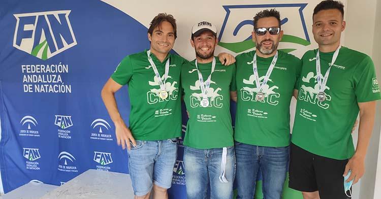 Cuatro representantes del Club Natación Córdoba.