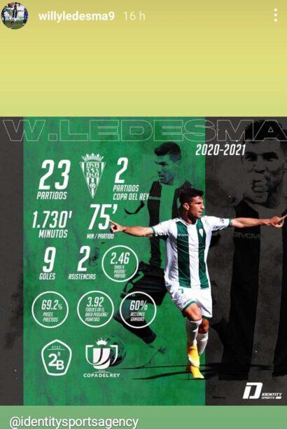 Willy mostró sus números en el Córdoba en una story de Instagram.