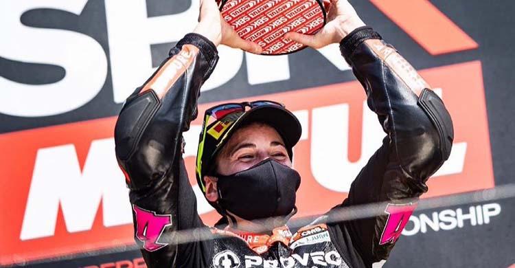 La piloto murciana Ana Carrasco en su vuelta con victoria en Missano.
