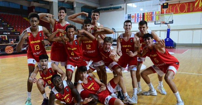 La alegría española en Skopje. Foto: FIBA