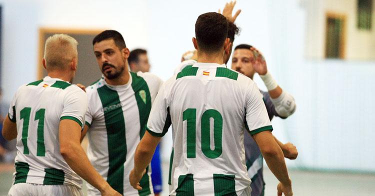 Los jugadores del Córdoba Patrimonio de la Humanidad celebrando uno de sus tantos. Foto: Córdoba Futsal