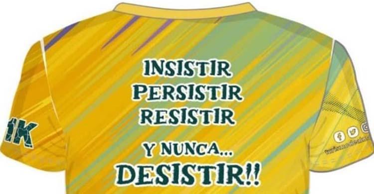 El alentador mensaje de la camiseta técnica que repartirá la organización de la Media Maratón de Almodóvar.