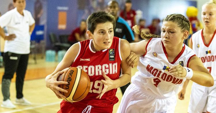 Tamar Papuashvili, de rojo, en un partido con Georgia