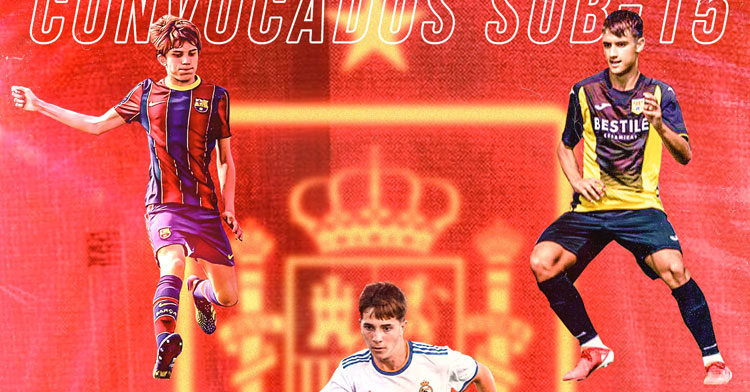 Andrés Cuenca, a la izquierda, y Dani Reyes, a la derecha, en un montaje fotográfico de la empresa Best of You con sus representados presentes en la citación de España